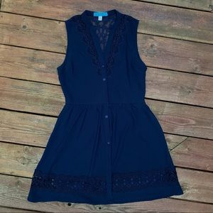 Navy Lace Button Dress
